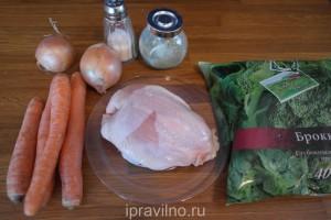 куриный суп с брокколи и морковью