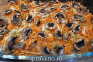 куриное филе запеченное в духовке с овощами и шампиньонами