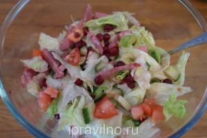 салат с говядиной и клюквой