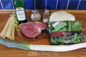 суп с говядиной, стручковой фасолью и сельдереем