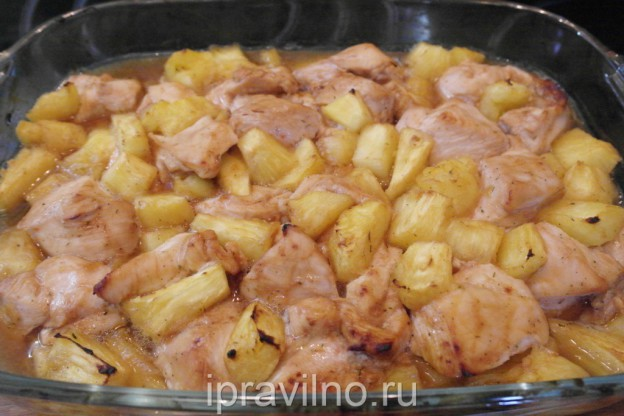 в рецепт с духовке с фото курица ананасами