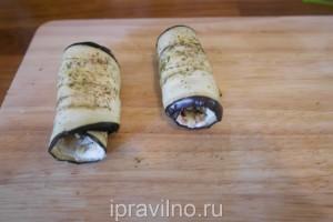 рулетики из баклажанов с сыром рикотта и грецкими орехами