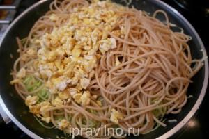 спагетти с кабачком и яйцами