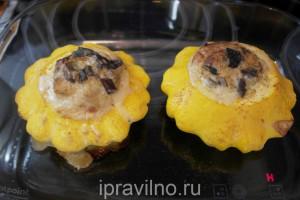 патиссоны с грибами и сыром