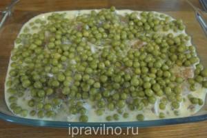 рыбная запеканка с зеленым горошком