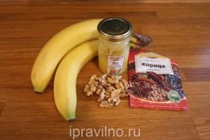 запеченный банан с медом и орехами