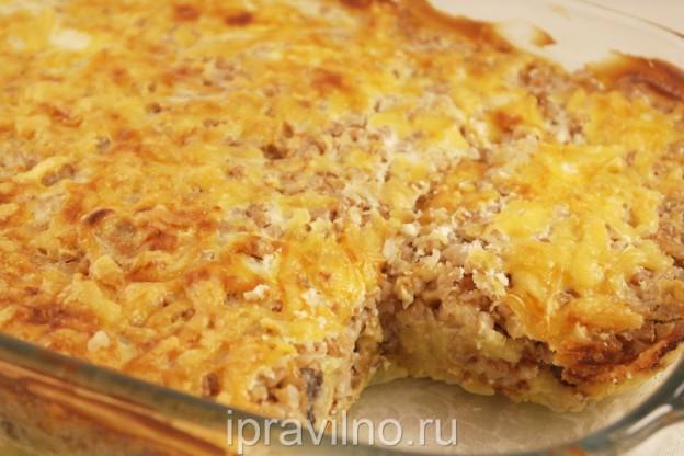 Запеканка с грибами и картофелем в духовке рецепт пошаговый