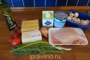 лазанья с куриным филе и шампиньонами