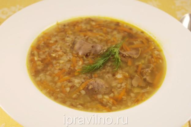 рецепт суп из куриной печени и гречки