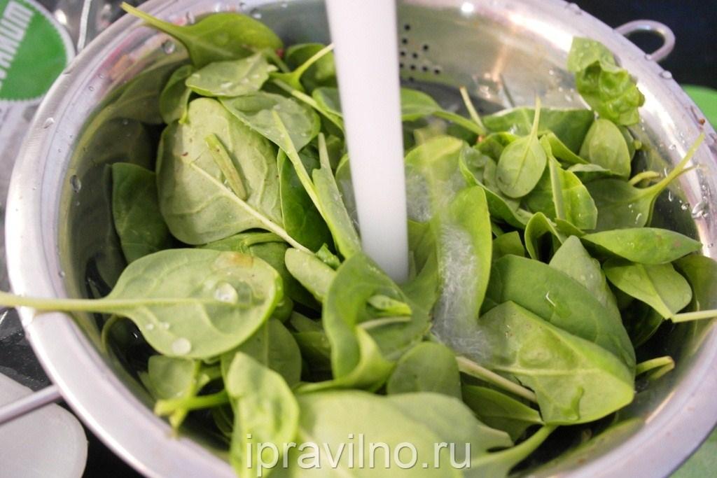 Салат со шпинатом и авокадо